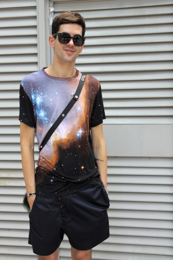 me wearing christopher kane galaxy tshirt westwood shorts and tom ford sunglasses
