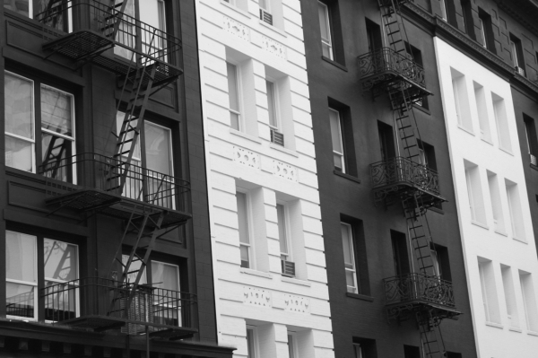 contrasting black and white buildings in san francisco