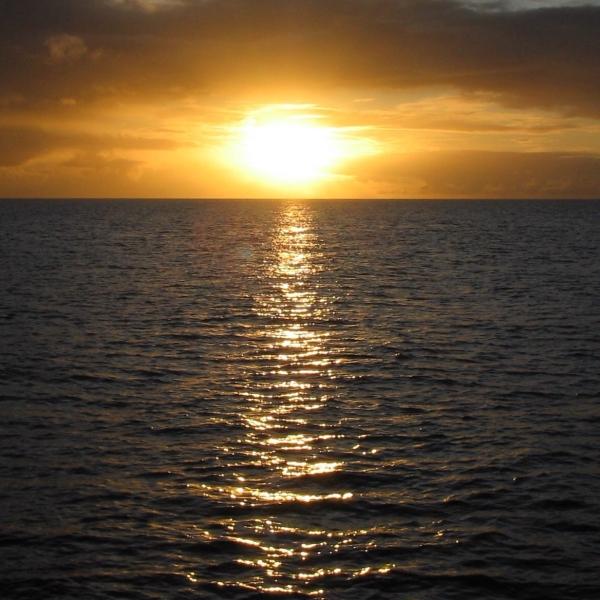 beautiful sunset on the caribbean sea