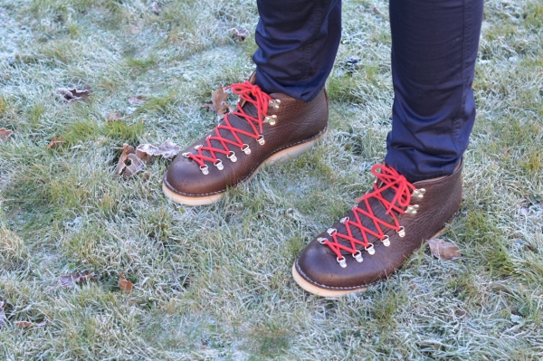 fracap mountaineering boots on frosty grass