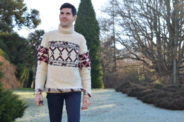 walking in frosty country house grounds wearing isabel marant jumper