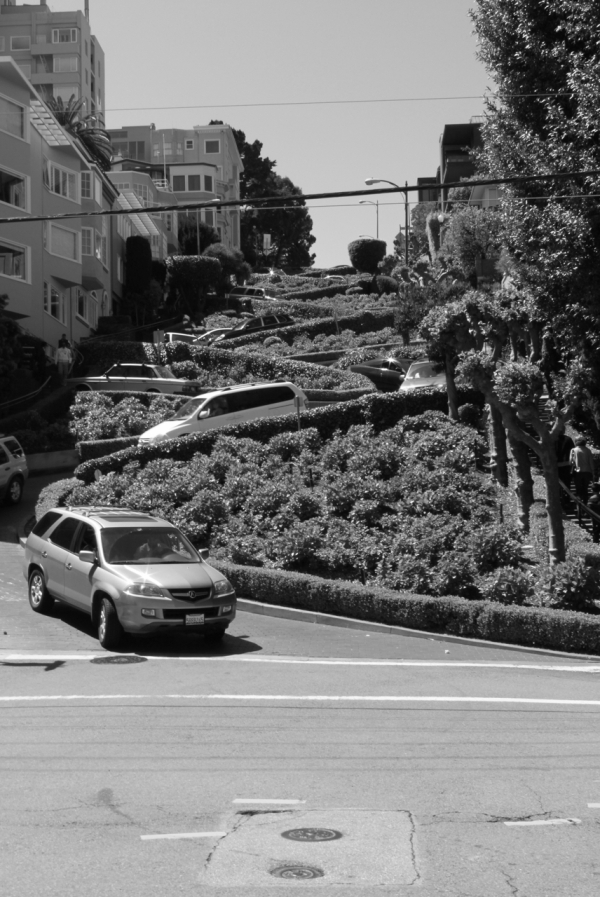 black and white shot of lombard street san francisco