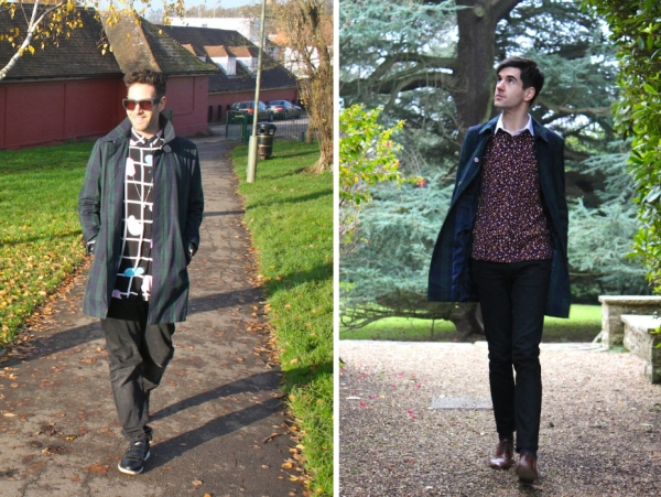 theverysimong and samuel from styleoversubstances both wearing green and navy check coat from new look