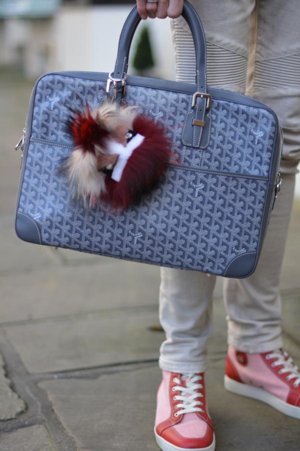 grey Goyard ambassade bag with fend bag bug