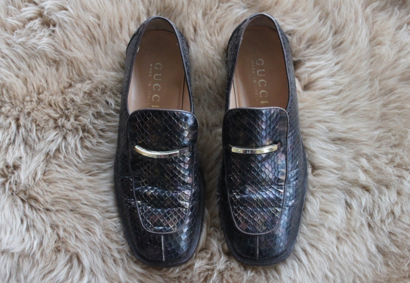 brown snakeskin gucci loafers deigned by tom ford