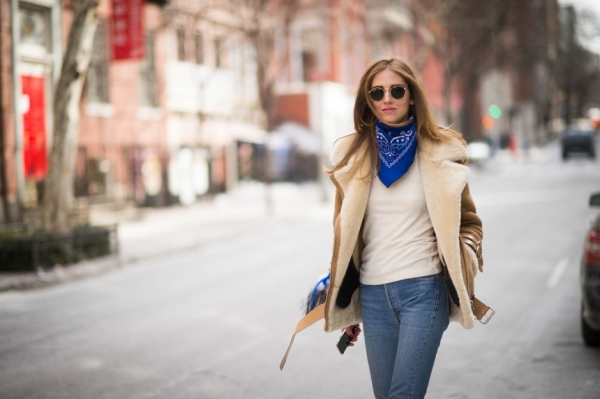 Chiara Ferragni of The Blond Salad wearing shearling coat and blue bandana