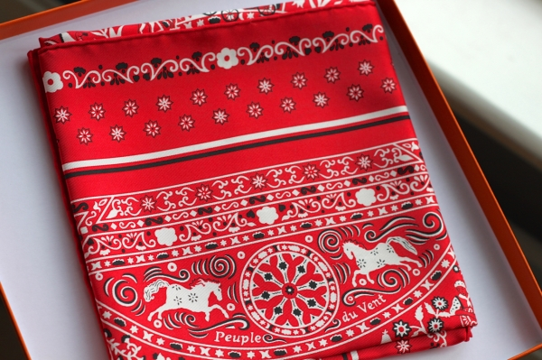 red and white silk Hermes bandana scarf