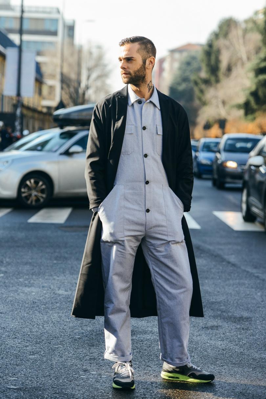 fashion journalist Simone Monguzzi wearing Gentucca Bini jumpsuit Nike trainers and Cos coat