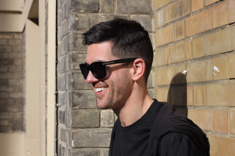 smiling wearing Tom Ford Campbell sunglasses by Brighton Royal Pavillion