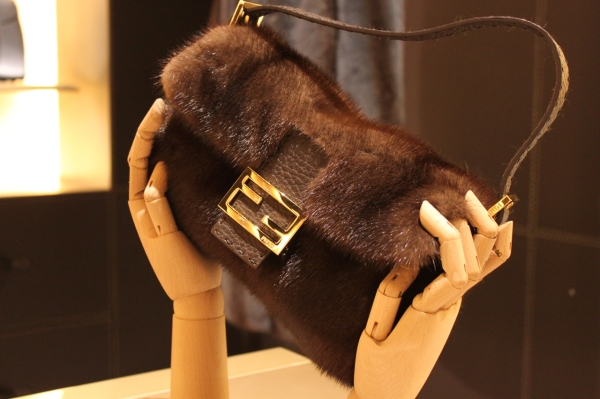 bespoke Fendi mink fur baguette in the London flagship store