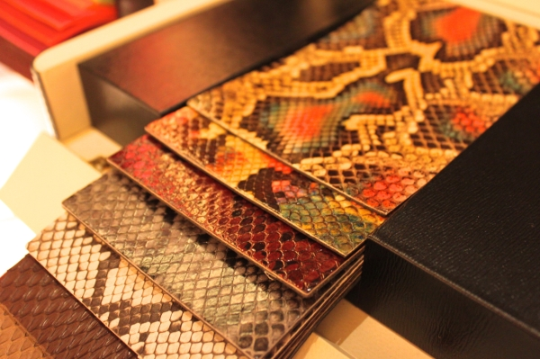 selection of Fendi exotic python skins for the made to order service